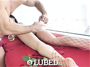oiled Marley Brinx well-lubed up rubdown pulverize and internal ejaculation