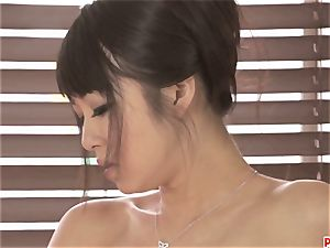 cool Kotomi rubbing and playing her humid and fur covered poon