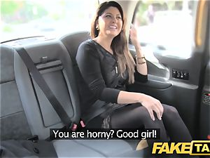 faux cab big facial cumshot jism shot for dark-haired in tights