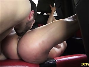 James Deen takes mummy Cherie Deville for a ride on his man sausage in the car