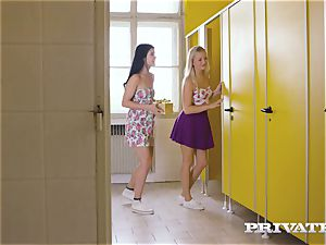 Private.com - lesbo three way in the rest room