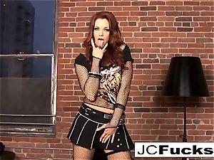 Jayden Cole inserts her undies in her slit