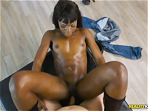 horny ebony beauty Ana Foxxx arrives as a cop and wedges the trouser snake of Jessie in her minge