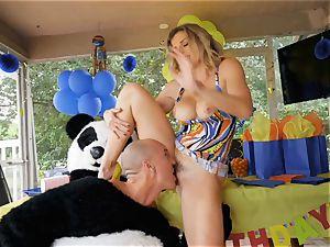 draped dude in panda costume plows mummy Cory chase