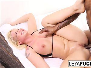 Leya gets a phat ebony chisel in her rump