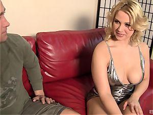 Sarah Vandella enjoys fellating unusual man rod