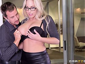 Julia Ann and Olivia Austin pound the manager together