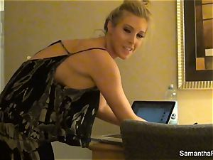 Behind the sequences with blonde adult movie star Samantha Saint