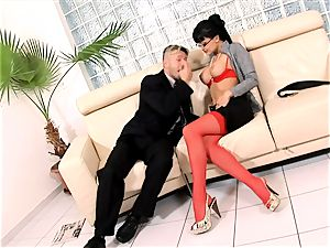 ultra-kinky assistant penetrated on a bed in underwear