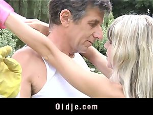 Gina Gerson gets anal from an old man