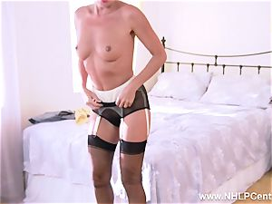 French milf wanks unshaved coochie in garter vintage nylons