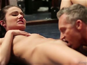 stepfather drills his youthfull stepdaughter after a workout