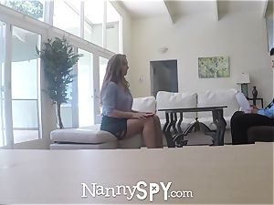 NANNYSPY Exhibitionist sitter Lena Paul internal cumshot