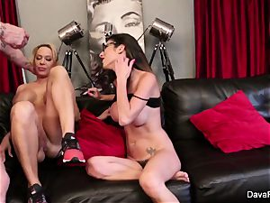 point of view deep throating and penetrating with Dava Foxx and Alyssa Lynn