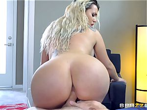 Smoking super-steamy ash-blonde with a gigantic backside riding on top of Danny D