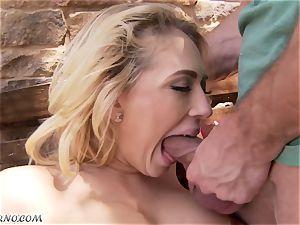 lustful buxomy blonde Kagney Linn Karter gets plumbed outdoor