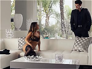 uber-sexy Eva Lovia is instructing her beau some manners before the soiree