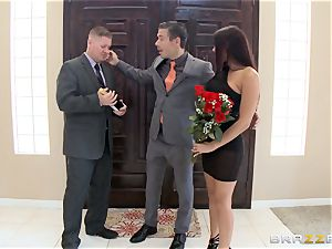 harsh Rachel Starr tears up molten stiffy in front of her spouse