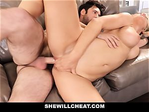 SheWillCheat cheating wife Gags on pipe