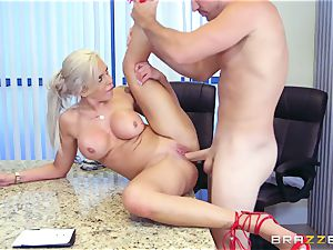 strict big-titted manager Nina Elle exploits its workers during a date