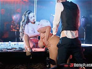Monster sausage for 2 lusty craving stunners Abigail Mac and Nicolette Shea