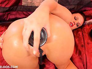 beautiful black-haired Roxy Raye using violent fake penises to blossom