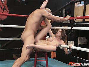 Alexis Adams cootchie puckered in the boxing ring by yam-sized penis