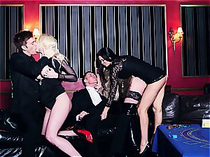 three hot tramps sharing cum in the casino