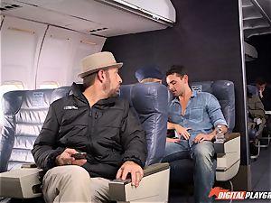 ultra-kinky stewardess Alexis Adams boning with the passengers
