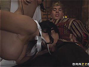 Alluring Anissa Kate and Jasmine Jae conform the king's will and man rod